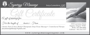 Eugene Massage Therapy Gift Certificate